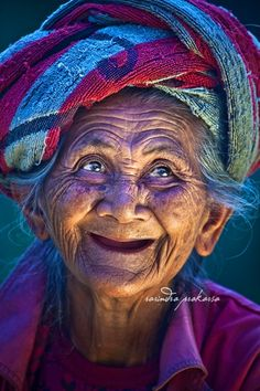 An Old Balinese woman with her Joyous face