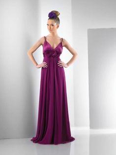A-line Floor-length V-neck Chiffon Bridesmaid Dress With Flower at Msdressy