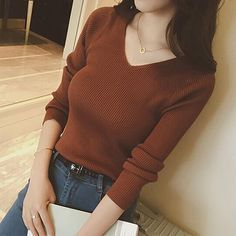 Autumn V Neck Sweater Knitted Fashion Womens Sweaters 2018 Winter Tops For Women Pullover Jumper Pull Femme Hiver Truien Dames Winter Sweaters, Sweater Coats, Pullover Sweaters, Sweaters For Women, Oversized Sweaters, Women's Sweaters, Jumper, Knit Fashion, Sweater Fashion