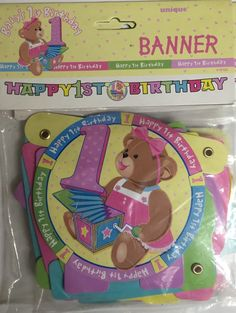 1st Birthday Girl ''Pink'' Bear Birthday Banner by ElsaPartySupply on Etsy