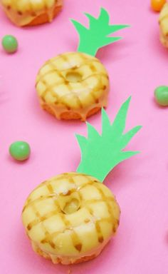 DIY Mini Pineapple Donuts - perfect for themed parties and summer dinner
