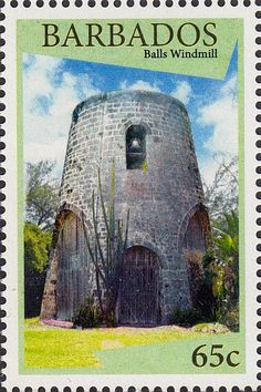 Barbados stamps - WIndmills of Barbados - 65c stamp Balls Windmill