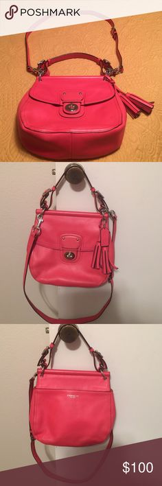 Authentic Coach Willis Cross Body Shoulder Bag This bag is in excellent used condition and is from a pet free smoke free home. There are no rips tears or stains but there are a few little marks from normal wear that are almost undetectable. The bag is a coral color. Coach Bags Crossbody Bags