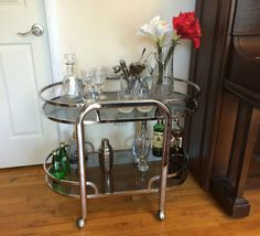 Vintage Mid-Century Modern Chrome and Smoked Glass Bar Cart Tea Trolley - 1970s