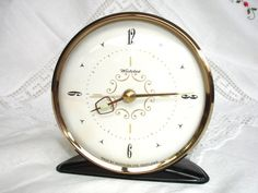 Hickory Dickory Dock...  1950s Westclox Alarm Clock Ivory Springwound made in by FillyGumbo, $50.00