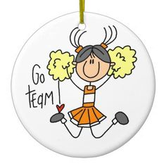 Orange Stick Figure Cheerleader t-shirts and Gifts Double-Sided Ceramic Round Christmas Ornament   Zazzle