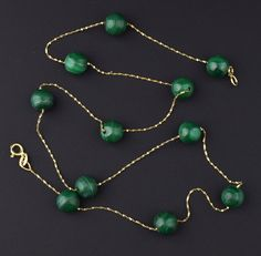 Italian Malachite 14K Gold Tin Cup Necklace #Gold #Simple #Italian #14K #Natural #Necklace #Tortoise #Rolled #Rare #Art