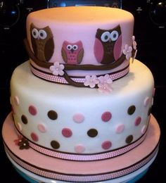 owl girl baby shower cake