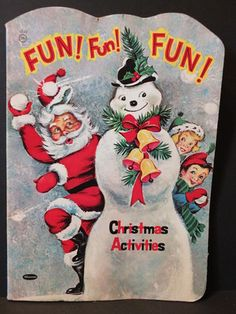 Vintage 1958 Whitman Christmas Coloring Book - Santa Fun Activites - Biers