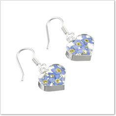 Forget Me Not Heart Drop Earrings