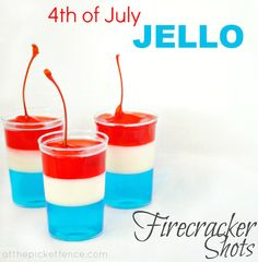 Firecracker 4th of July Jello Shots Source: atthepicketfence