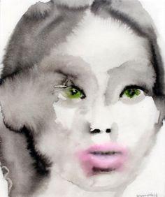 "Nine   Ink and watercolor covered in resin   9"" X 11""   2013 lisa krannichfeld"