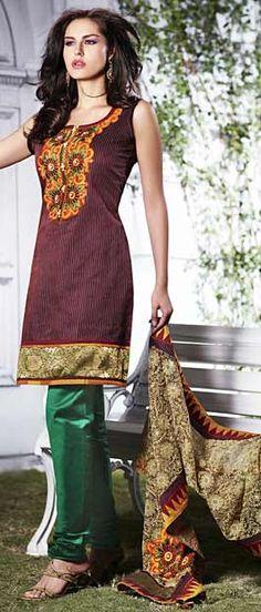 Deep Wine #Cotton #Silk Readymade #Churidarkameez with Dupatta @ $109.01 | Shop Here: http://www.utsavfashion.com/store/sarees-large.aspx?icode=kbp334