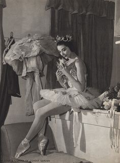 Margot Fonteyn in her dressing room at the Royal Opera House, Covent Garden. Photo by Serge Lido, 1959.