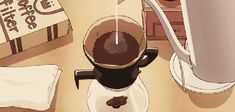 Animated gif in 🎀Anime scenery/kawaii gifs💘 collection by xSakuraChii Anime Coffee, Coffee Gif, Coffee Quotes, Hot Coffee, Coffee Shop Aesthetic, Aesthetic Gif, Aesthetic Food, Aesthetic Wallpapers, Gif Café