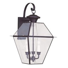 Livex Lighting 3-Light Bronze Outdoor Wall Lantern with Clear Beveled Glass