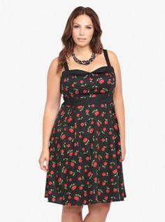 Cute! Retro Chic Cherry Print Swing Dress
