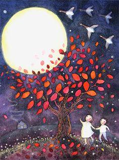 Beautiful, whimsical art by Kristina Swarner - Full moon, autumn tree, flying geese Illustrations, Children's Book Illustration, Sun Moon, Stars And Moon, Beautiful Moon, Harvest Moon, Moon Art, Pics Art, Whimsical Art