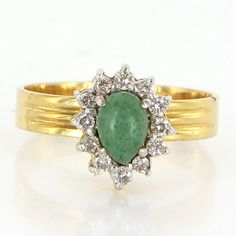 Vintage 14 Karat Yellow Gold Aventurine Quartz Princess Cocktail Ring Estate Jewelry