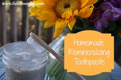 Homemade Toothpaste Recipe: Remineralizing | Food Renegade  1/2 c. bentonite clay (where to buy bentonite clay powder) 3 Tbsp. xylitol powder (where to buy xylitol) 4 Tbsp. coconut oil, warmed to liquid 20 drops cinnamon essential oil 20 drops clove essential oil 30 drops Concentrace trace minerals (where to buy trace mineral drops) 3 Tbsp. water (possibly more)