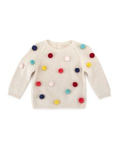 Knit Pom-Pom Pullover Sweater, Beige, Size 2-4 by Il Gufo at Neiman Marcus.
