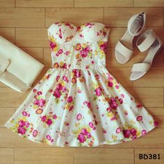 Vintage flirty floral bustier dress BD381 by HumblyGlam on Etsy, $34.95