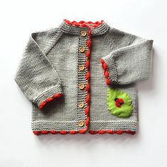 Ladybug baby sweater knitted baby spring jacket grey and red merino cardigan MADE TO ORDER Carola Schneider Baby Blue Sweater, Baby Girl Sweaters, Knitting For Kids, Baby Knitting, Knitted Baby, Baby Set, Elephant Sweater, Cardigan Gris, Green Cardigan