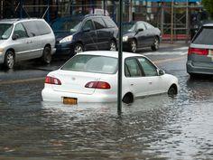 A car in flood waters due to Hurricane Sandy on Beach 30th Street in Far Rockaway on Oct. 29, 2012.