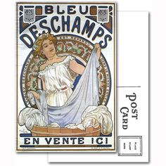 Bleu Deschamps by Alphonse Mucha Postcard