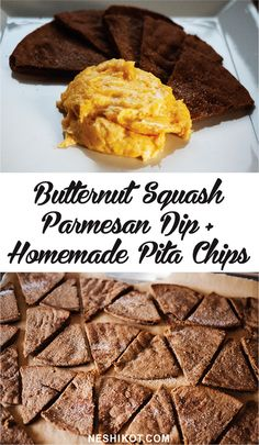 Baked butternut squash parmesan dip with homemade whole wheat pita chips <3 Recipe by Neshikot.com