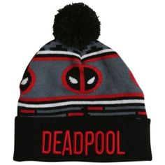 Marvel Deadpool Pom Beanie Hot Topic ❤ liked on Polyvore featuring accessories, hats, pompom hat, beanie cap, pom pom beanie, beanie cap hat and beanie hats
