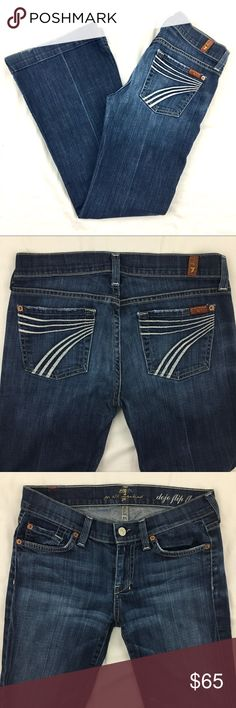 "7 for All Mankind 7FAMK Dojo Flip Flop Flare Jeans 7 for All Mankind 7FAMK Dojo Flip Flop Flare Jeans  Size 25 Waist across: 14"" Rise: 7.5"" Inseam: 30""   98% cotton 2% spandex   Great condition with some minor fraying at bottom of legs (see picture)  Pet and smoke free home 7 For All Mankind Jeans Flare & Wide Leg"