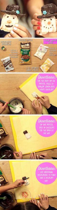 Chocolate Pretzel Snowmen | 20 + Easy Christmas Treats for School Parties
