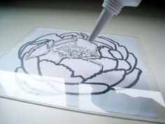 No-Carve Clear Stamps  - 1/8″-thick acrylic plexiglass; can be found at hardware stores X-Acto knife Metal ruler Silicone rubber caulking (clear); can be found at hardware stores Water-based paint Brayer Note: You can cut plexiglass to size by scoring a straight line several times using an X-Acto knife and metal ruler, and then placing the plexiglass on a table with the score line over the edge and snapping it in one quick motion.