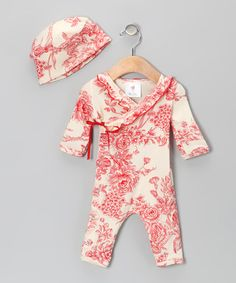 Take a look at this Red Toile Floral Surplice Playsuit & Beanie - Infant by Mad Sky on #zulily today!