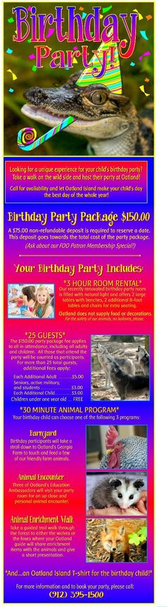 Have your child's next birthday party at Oatland!