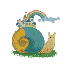 Cross stitch patten Rainbow Snail digital item by LaMariaCha, $5.00