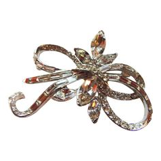 Pell  Rhinestone Bow Brooch/Pin Vintage 1950 by CollectionsbyAnn