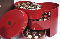 Luxury three tiered chocolate hatbox with pull out drawer. #packaging