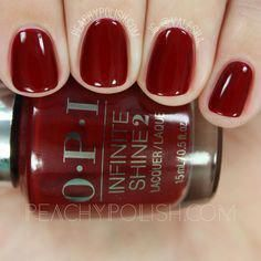 OPI Ring The Buzzer Again Infinite Shine Breakfast At Tiffany's Collection Peachy Polish Opi Gel Polish, Opi Nails, Red Polish, Opi Nail Colors, Fall Nail Colors, Cute Nails, Pretty Nails, Nagel Gel, Winter Nails