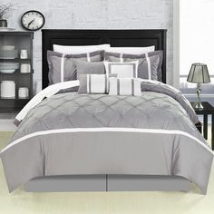 Vermont Grey 8 Piece Comforter Bed In A Bag Set