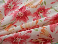 Bliss Floral Peachskin Fabric / Pink - Beautifully soft fabric. Hangs and drapes like a dream. Wonderfully easy to sew, yet holds it's shape well in garment construction … WeaverDee.com