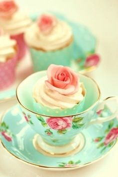 Desserts in tea cups - what a great idea for a bridal or baby shower!