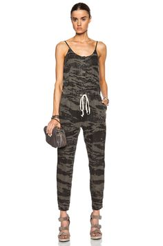 D19 300  Enza Costa Linen Strappy Jumpsuit in Army
