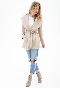 Hooded Shawl Collar Coat