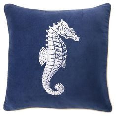 Seahorse Pillow in navy and white, a perfect combo