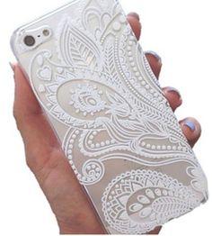 """doopootoo ™ bianco paisley floreale mandala modello verniciato in plastica sottile copertura posteriore dura di caso per iphone 6 più 5.5 """""""