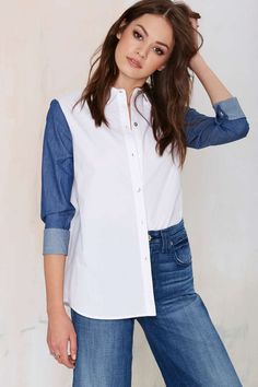 Line & Dot Contrast Button Up Blouse is a breath of fresh air.