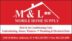 Heat & Air Conditioning Units    Underskirting, Doors, Windows • Plumbing & Electrical Par... | MandL Mobile Home Supply - Anderson, SC #georgia #HartwellGA #shoplocal #localGA