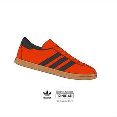 ADIDAS - Trinidad, island series - fall / winter 2015 . #kicks #illustration #adidasoriginal #adidas #adidastrinidad #adidasislandseries Adidas Og, Blue Adidas, Adidas Sneakers, Sneaker Posters, Casual Art, Sergio Tacchini, Trinidad, Football Casuals, Vintage Sneakers
